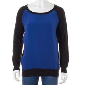 Joie Silk Front Sweater Size M